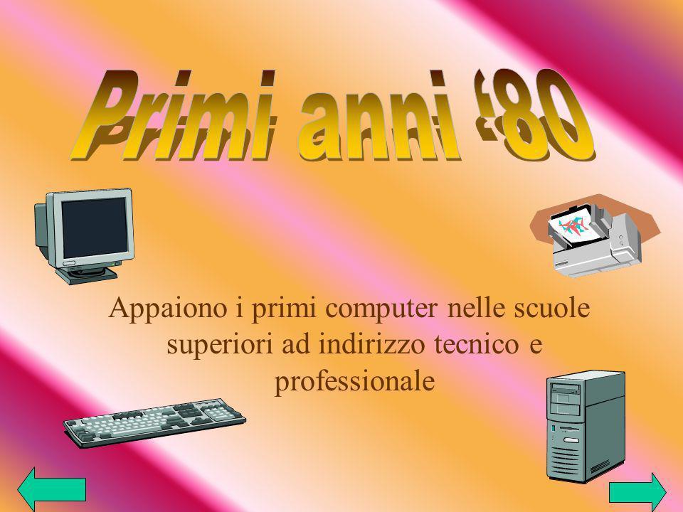 Primi anni '80 Appaiono i primi computer nelle scuole superiori ad indirizzo tecnico e professionale.