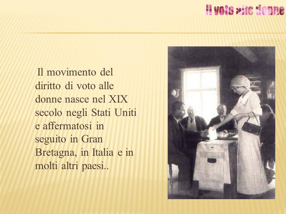 Il movimento del diritto di voto alle donne nasce nel XIX secolo negli Stati Uniti e affermatosi in seguito in Gran Bretagna, in Italia e in molti altri paesi..