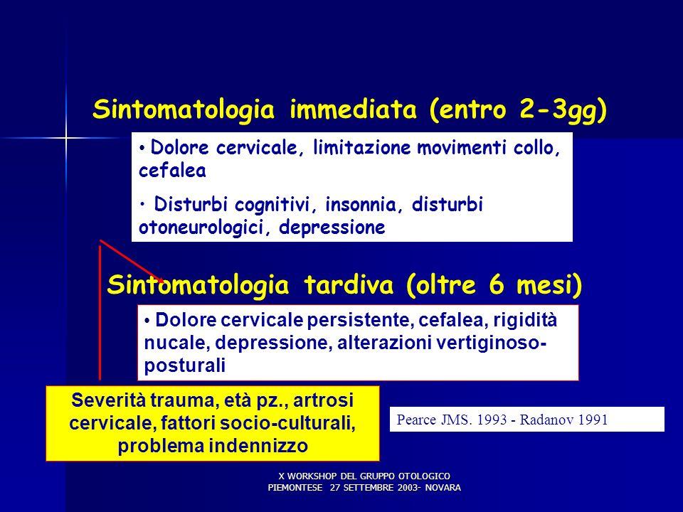COLPO DI FRUSTA (2) Sintomatologia immediata (entro 2-3gg)