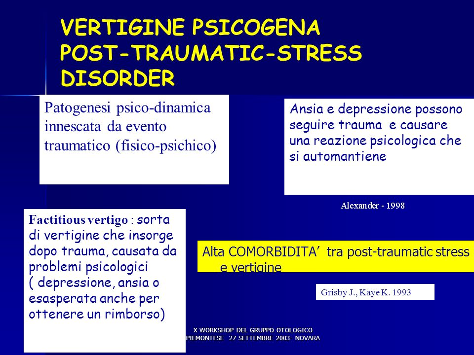 VERTIGINE PSICOGENA POST-TRAUMATIC-STRESS DISORDER