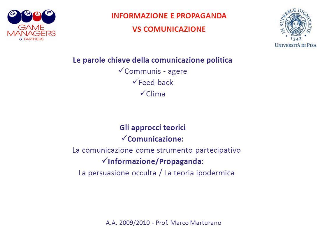 INFORMAZIONE E PROPAGANDA VS COMUNICAZIONE