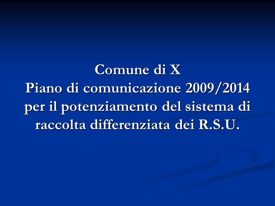 Comune di X Piano di comunicazione 2009/2014 per il potenziamento del sistema di raccolta differenziata dei R.S.U.