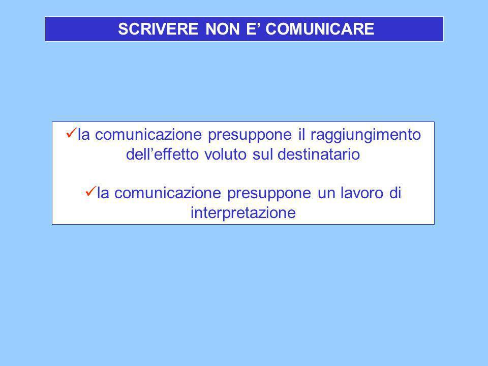 SCRIVERE NON E' COMUNICARE