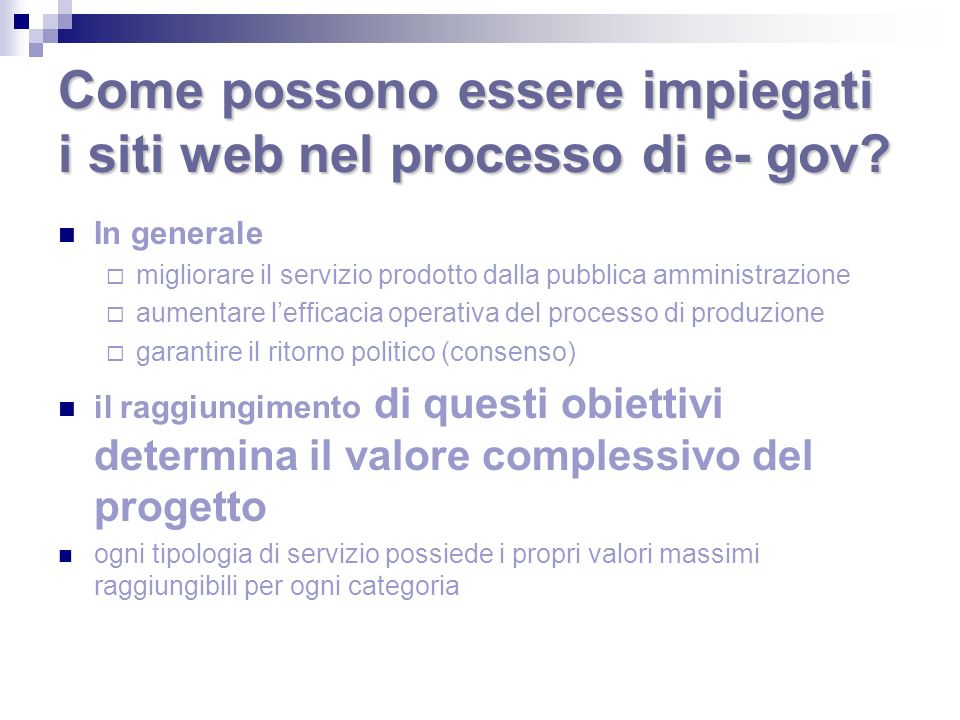 Come possono essere impiegati i siti web nel processo di e- gov