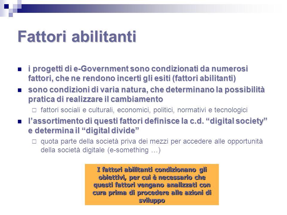 Fattori abilitanti i progetti di e-Government sono condizionati da numerosi fattori, che ne rendono incerti gli esiti (fattori abilitanti)