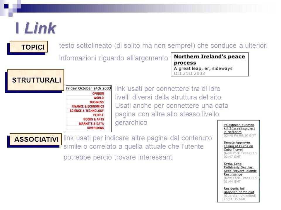 I Link testo sottolineato (di solito ma non sempre!) che conduce a ulteriori informazioni riguardo all'argomento trattato.