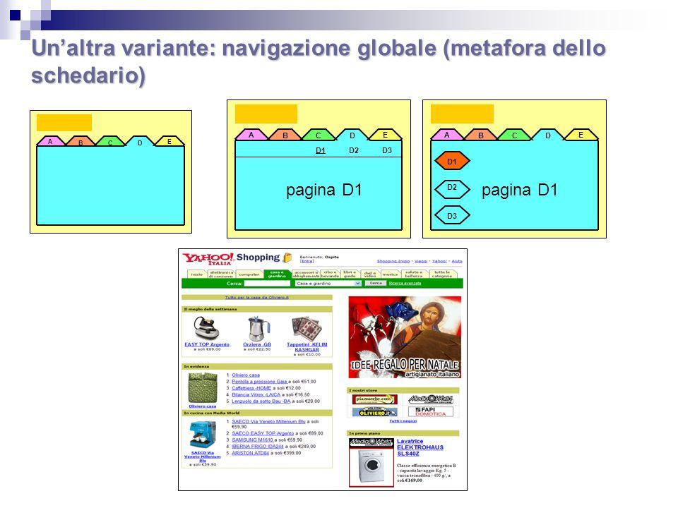 Un'altra variante: navigazione globale (metafora dello schedario)