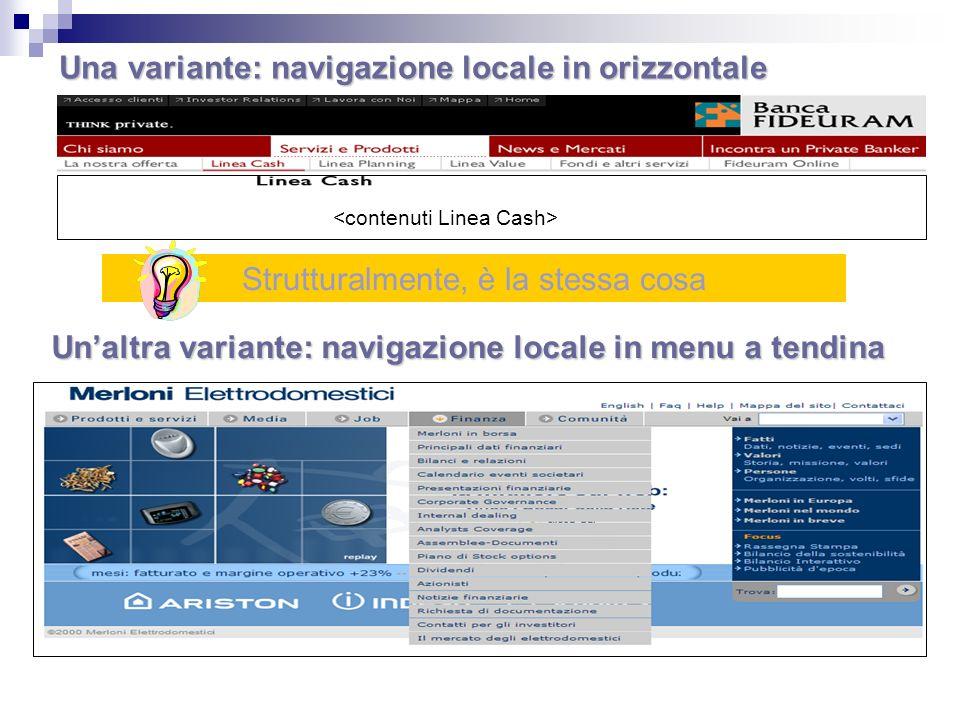 Una variante: navigazione locale in orizzontale