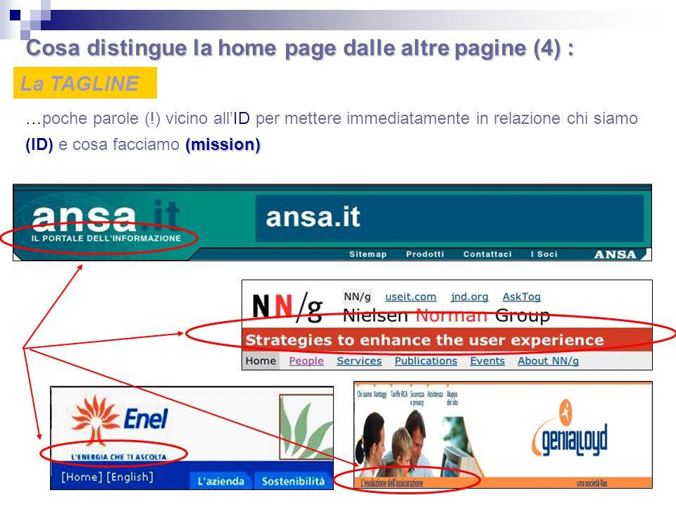 Cosa distingue la home page dalle altre pagine (4) :