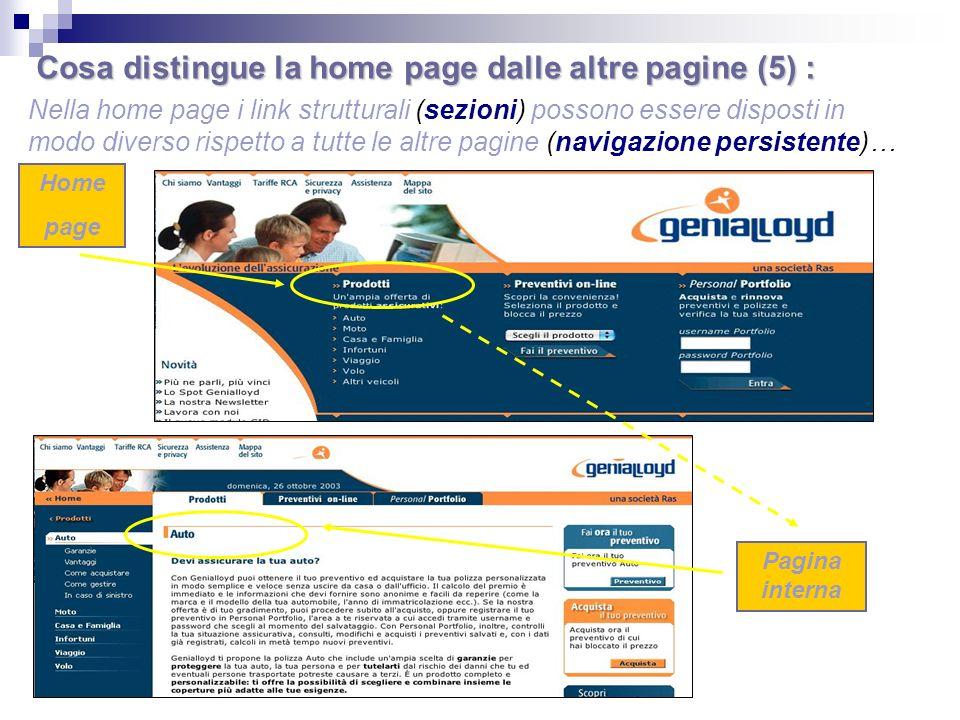 Cosa distingue la home page dalle altre pagine (5) :
