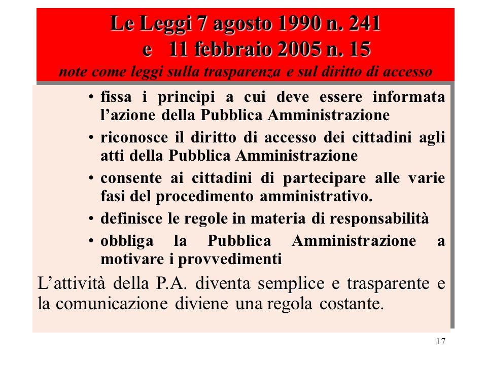 Le Leggi 7 agosto 1990 n. 241 e 11 febbraio 2005 n