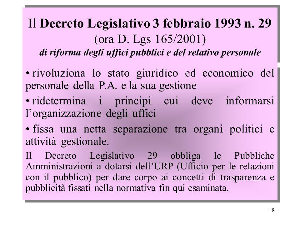 Il Decreto Legislativo 3 febbraio 1993 n. 29 (ora D