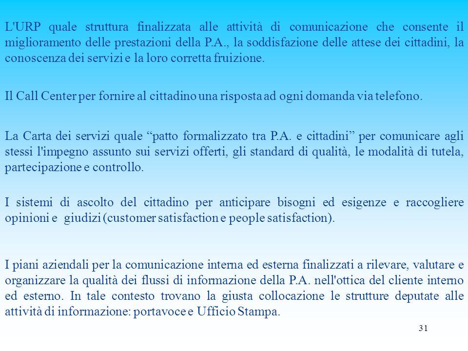 L URP quale struttura finalizzata alle attività di comunicazione che consente il miglioramento delle prestazioni della P.A., la soddisfazione delle attese dei cittadini, la conoscenza dei servizi e la loro corretta fruizione.