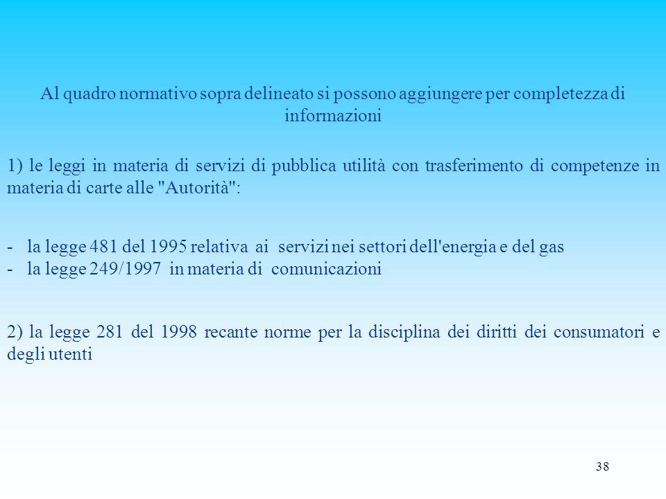 Al quadro normativo sopra delineato si possono aggiungere per completezza di informazioni