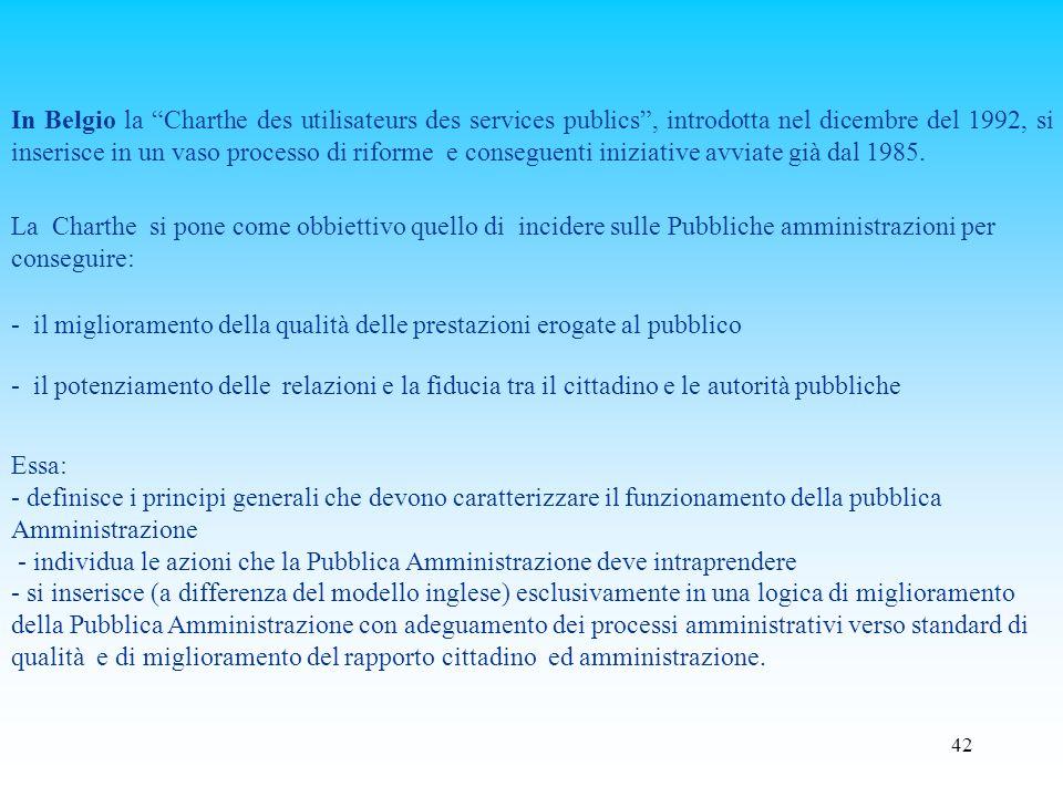 In Belgio la Charthe des utilisateurs des services publics , introdotta nel dicembre del 1992, si inserisce in un vaso processo di riforme e conseguenti iniziative avviate già dal 1985.