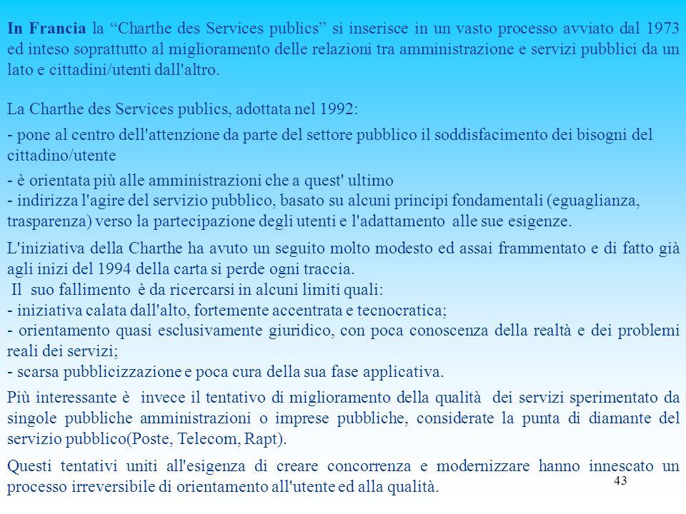 In Francia la Charthe des Services publics si inserisce in un vasto processo avviato dal 1973 ed inteso soprattutto al miglioramento delle relazioni tra amministrazione e servizi pubblici da un lato e cittadini/utenti dall altro.