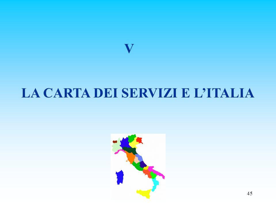 LA CARTA DEI SERVIZI E L'ITALIA