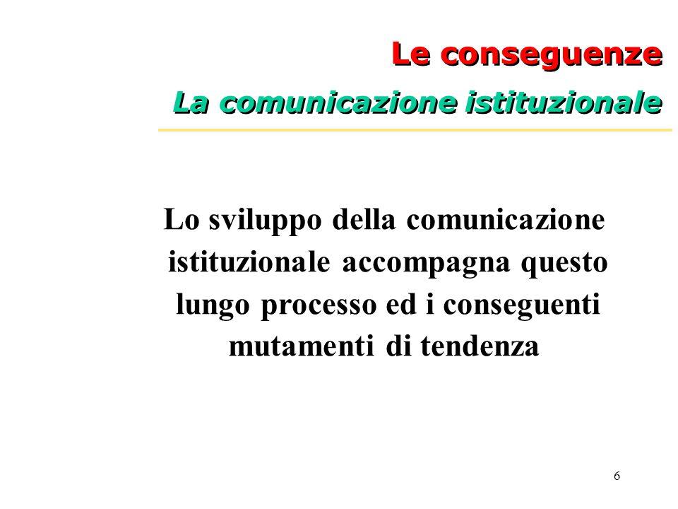 Lo sviluppo della comunicazione istituzionale accompagna questo