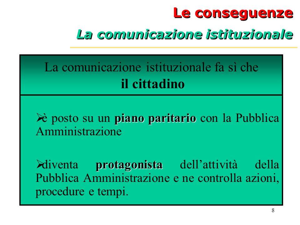 La comunicazione istituzionale fa sì che il cittadino