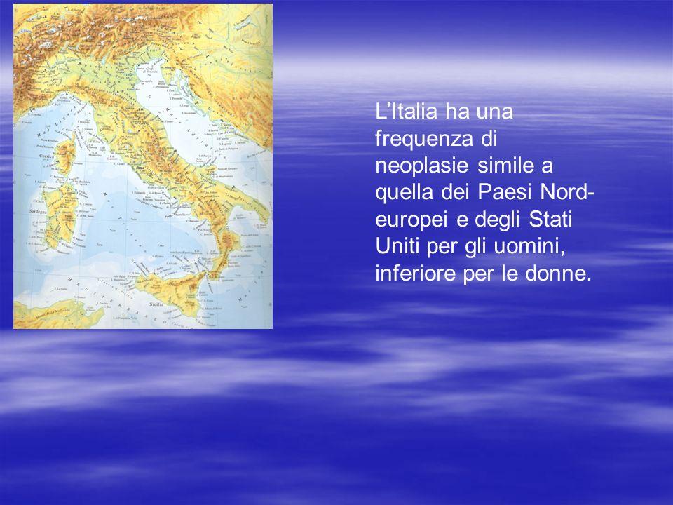 L'Italia ha una frequenza di neoplasie simile a quella dei Paesi Nord-europei e degli Stati Uniti per gli uomini, inferiore per le donne.