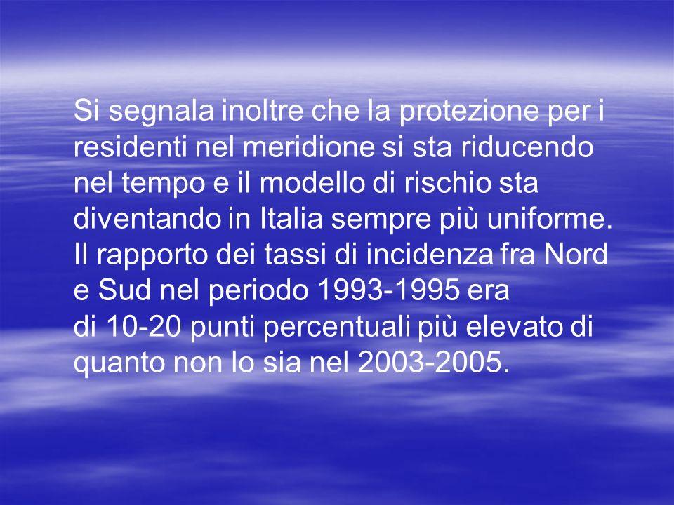 Si segnala inoltre che la protezione per i residenti nel meridione si sta riducendo nel tempo e il modello di rischio sta