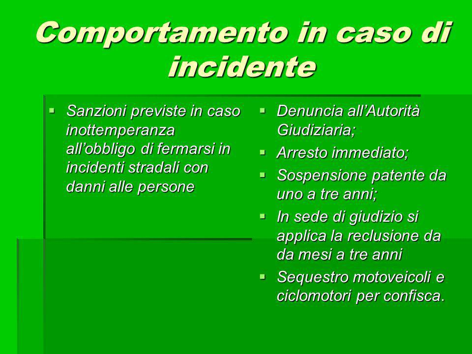 Comportamento in caso di incidente