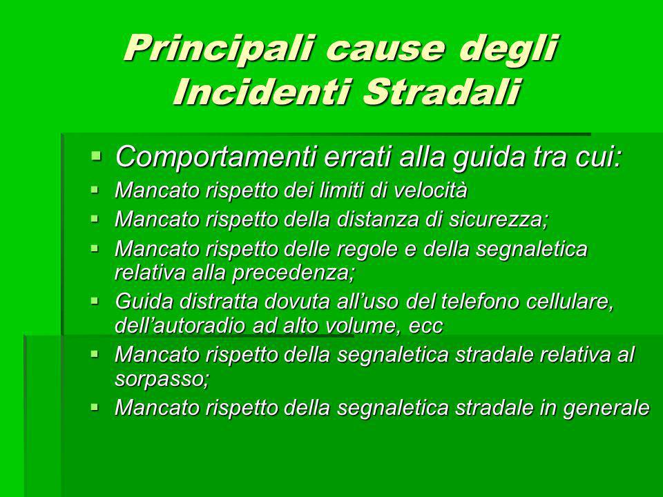 Principali cause degli Incidenti Stradali