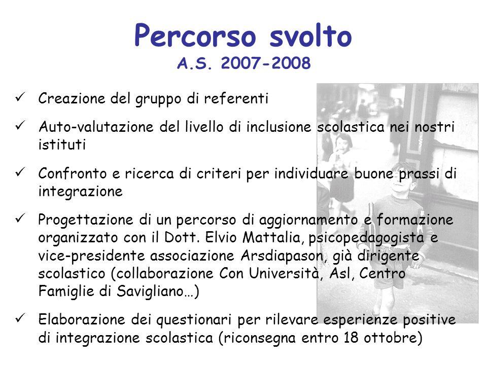 Percorso svolto A.S. 2007-2008 Creazione del gruppo di referenti