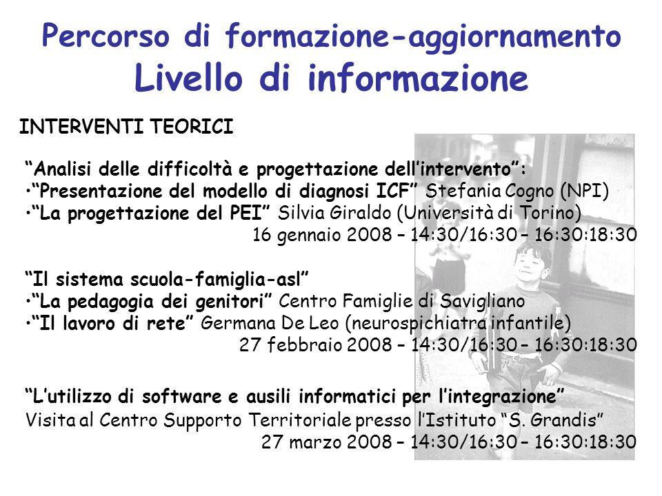 Percorso di formazione-aggiornamento Livello di informazione