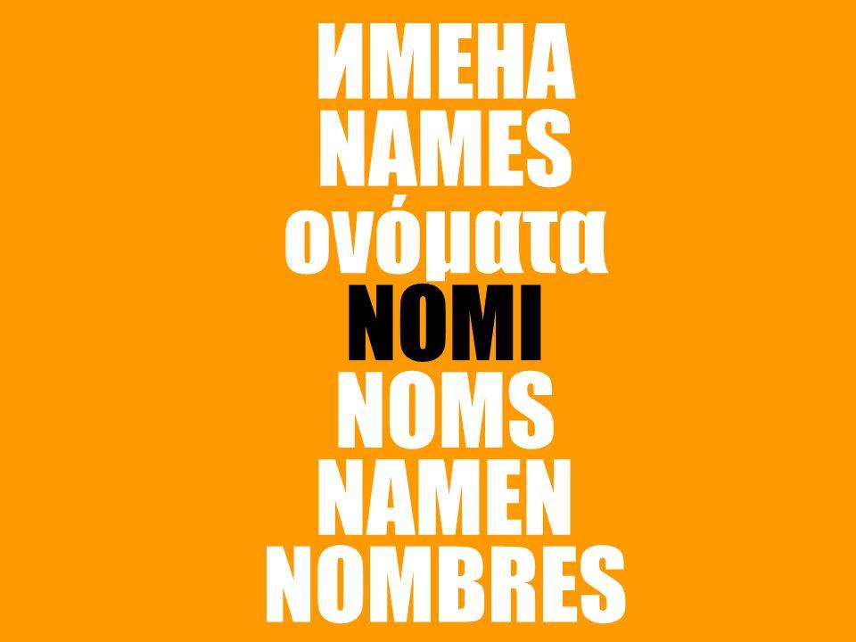 ИМЕНА NAMES ονόματα NOMI NOMS NAMEN NOMBRES