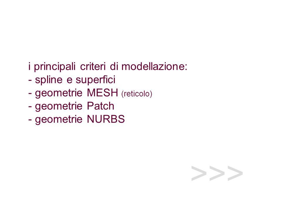 i principali criteri di modellazione: - spline e superfici - geometrie MESH (reticolo) - geometrie Patch - geometrie NURBS