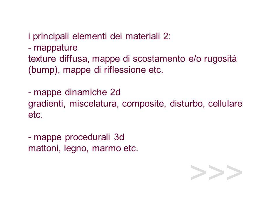 i principali elementi dei materiali 2: - mappature texture diffusa, mappe di scostamento e/o rugosità (bump), mappe di riflessione etc. - mappe dinamiche 2d gradienti, miscelatura, composite, disturbo, cellulare etc. - mappe procedurali 3d mattoni, legno, marmo etc.