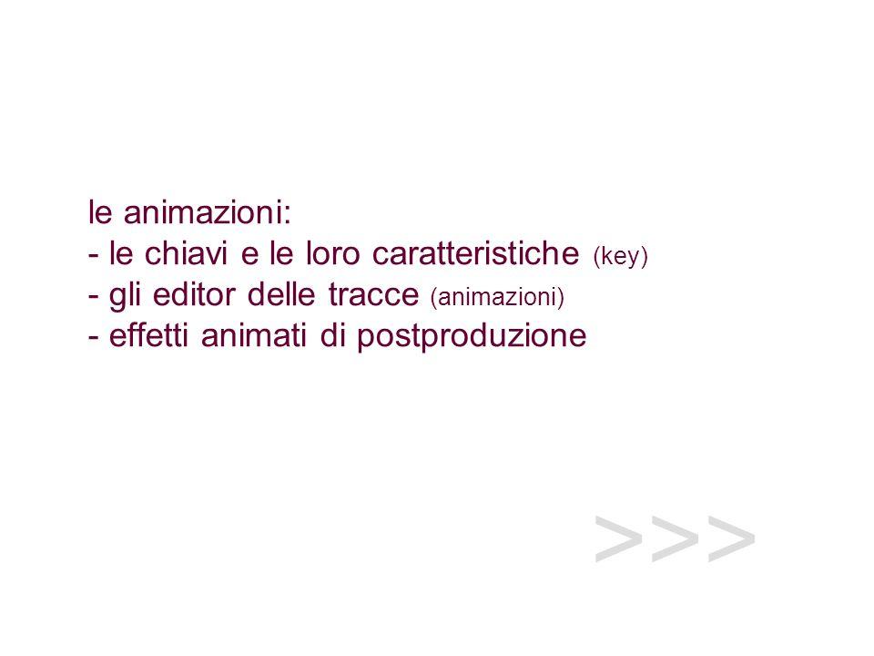 le animazioni: - le chiavi e le loro caratteristiche (key) - gli editor delle tracce (animazioni) - effetti animati di postproduzione