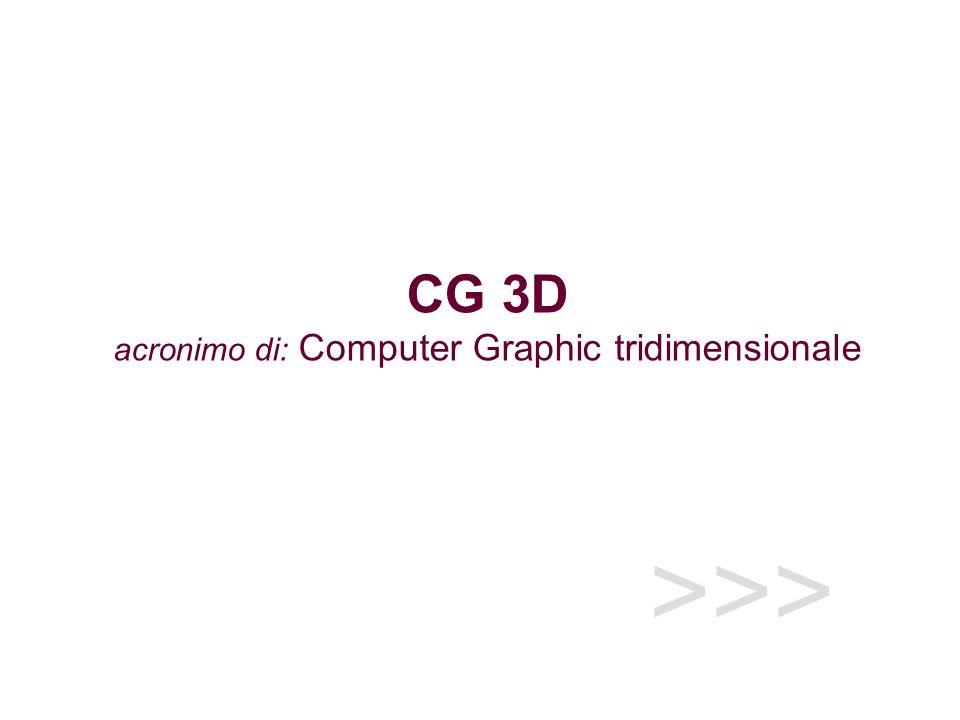CG 3D acronimo di: Computer Graphic tridimensionale
