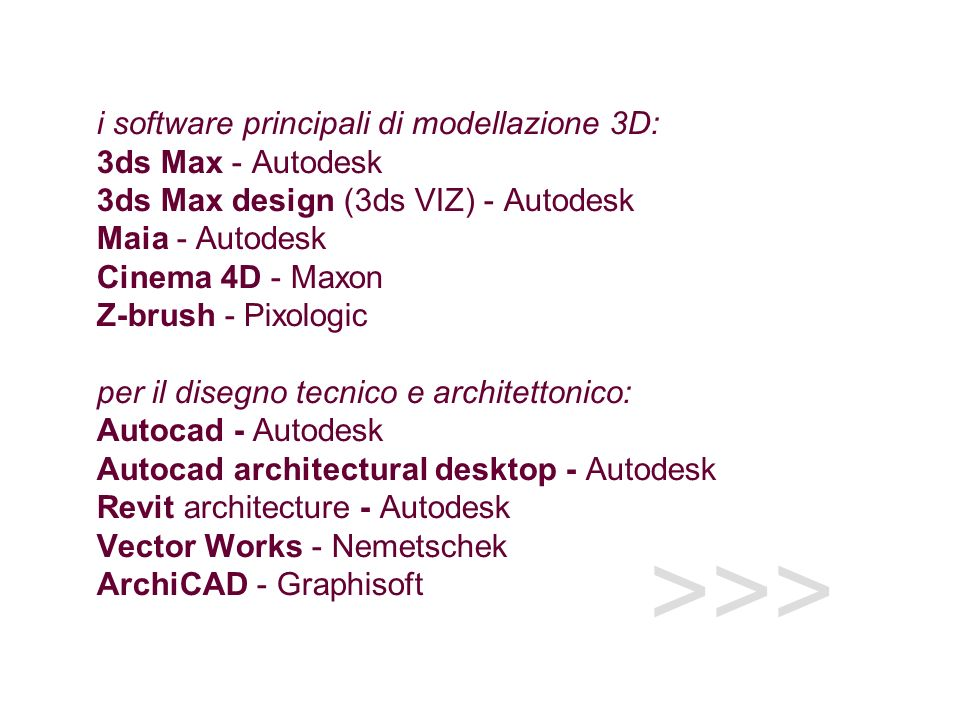 i software principali di modellazione 3D: 3ds Max - Autodesk 3ds Max design (3ds VIZ) - Autodesk Maia - Autodesk Cinema 4D - Maxon Z-brush - Pixologic per il disegno tecnico e architettonico: Autocad - Autodesk Autocad architectural desktop - Autodesk Revit architecture - Autodesk Vector Works - Nemetschek ArchiCAD - Graphisoft