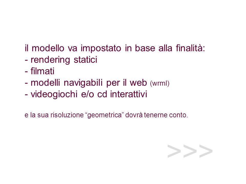 il modello va impostato in base alla finalità: - rendering statici - filmati - modelli navigabili per il web (wrml) - videogiochi e/o cd interattivi e la sua risoluzione geometrica dovrà tenerne conto.
