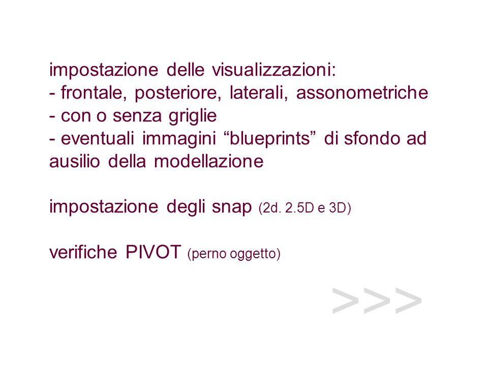 impostazione delle visualizzazioni: - frontale, posteriore, laterali, assonometriche - con o senza griglie - eventuali immagini blueprints di sfondo ad ausilio della modellazione impostazione degli snap (2d. 2.5D e 3D) verifiche PIVOT (perno oggetto)
