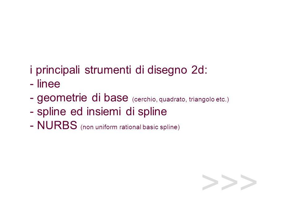 i principali strumenti di disegno 2d: - linee - geometrie di base (cerchio, quadrato, triangolo etc.) - spline ed insiemi di spline - NURBS (non uniform rational basic spline)