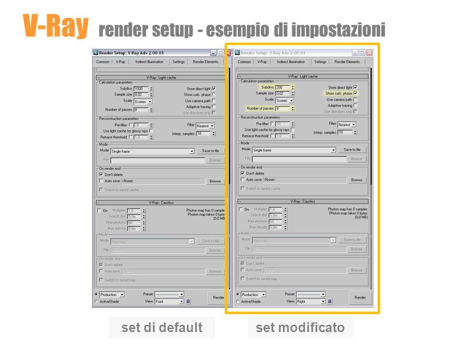 V-Ray render setup - esempio di impostazioni