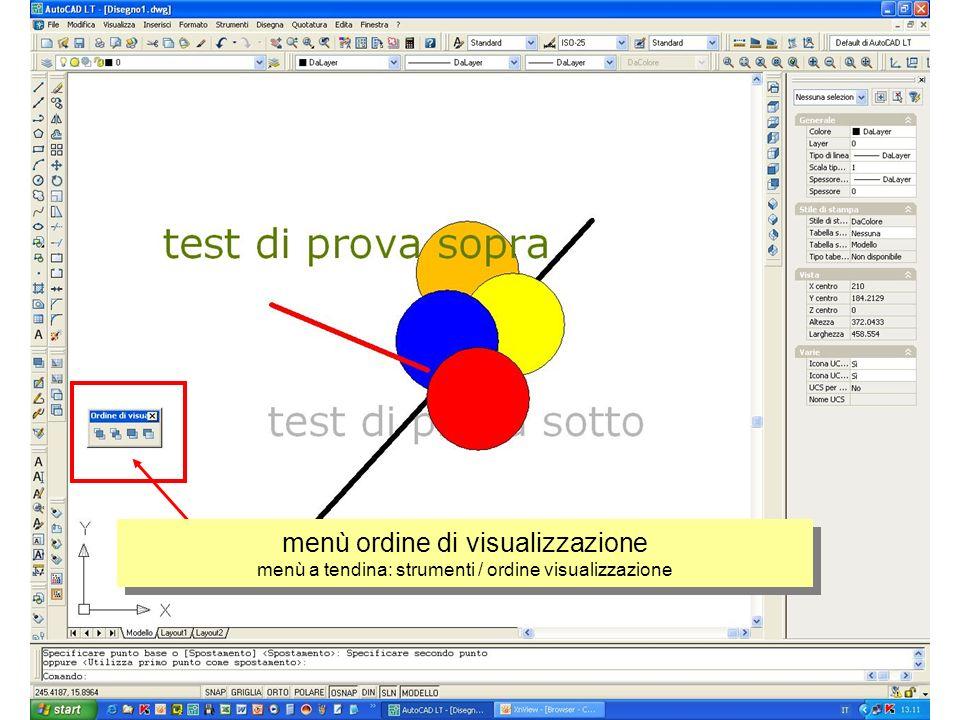 menù ordine di visualizzazione menù a tendina: strumenti / ordine visualizzazione