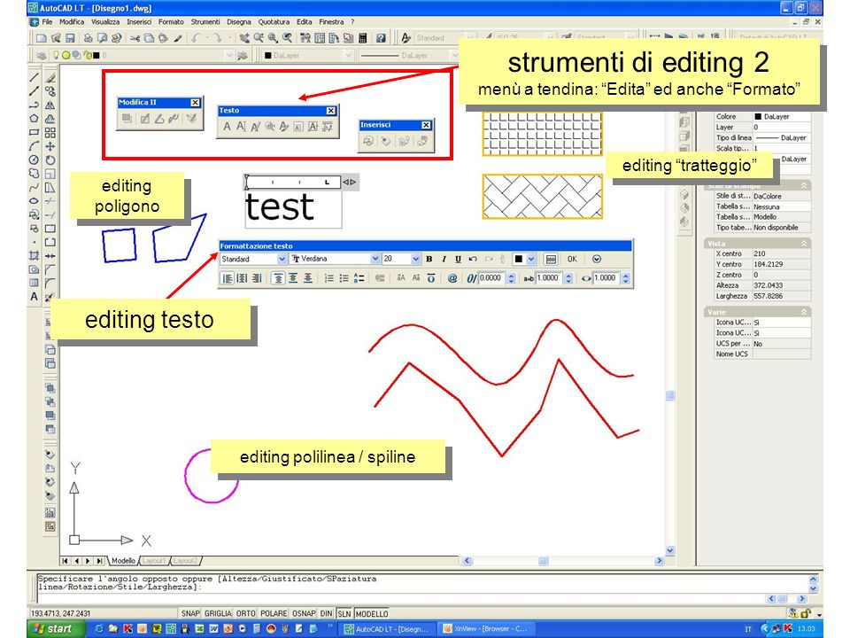 strumenti di editing 2 menù a tendina: Edita ed anche Formato