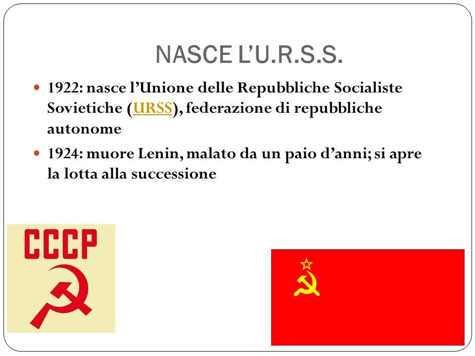 NASCE L'U.R.S.S. 1922: nasce l'Unione delle Repubbliche Socialiste Sovietiche (URSS), federazione di repubbliche autonome.