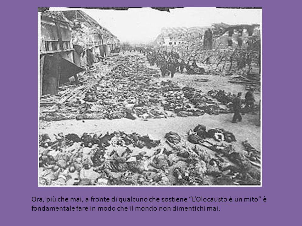 Ora, più che mai, a fronte di qualcuno che sostiene L'Olocausto è un mito è fondamentale fare in modo che il mondo non dimentichi mai.