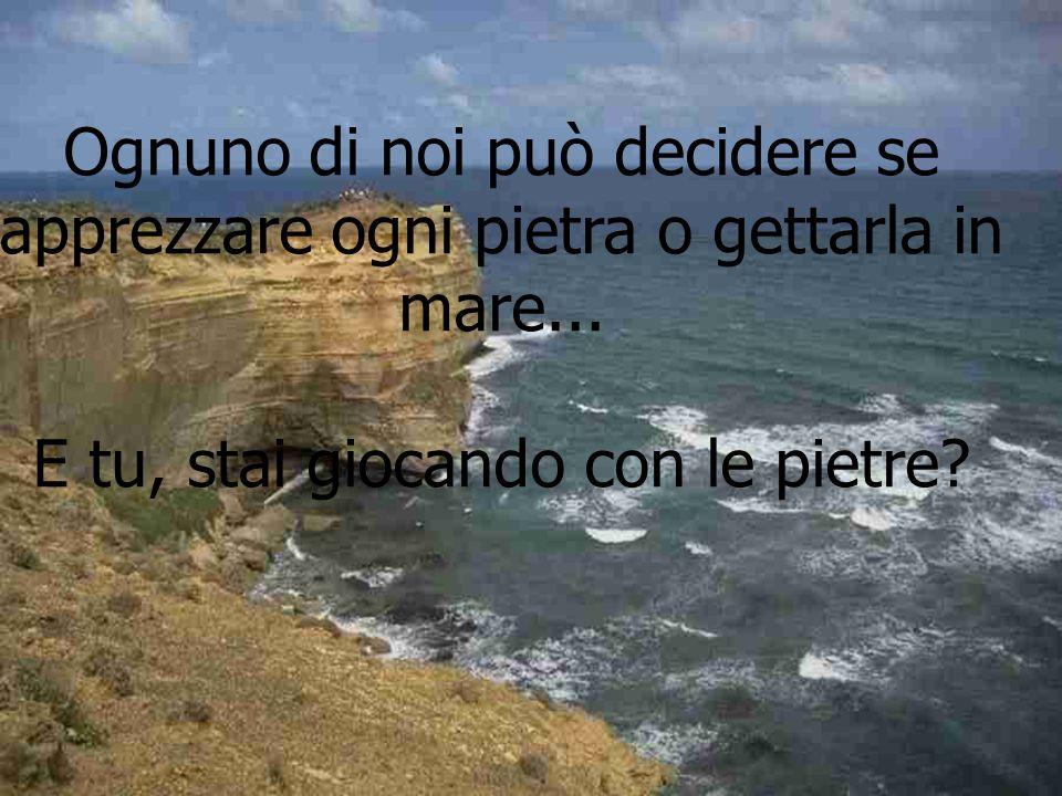 Ognuno di noi può decidere se apprezzare ogni pietra o gettarla in mare...