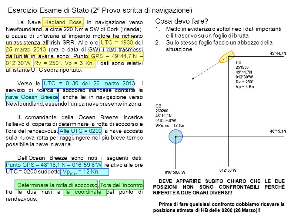 · Esercizio Esame di Stato (2ª Prova scritta di navigazione)