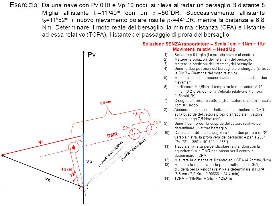 Esercizio: Da una nave con Pv 010 e Vp 10 nodi, si rileva al radar un bersaglio B distante 8 Miglia all'istante t1=11h40m con un r1=50°DR. Successivamente all'istante t2=11h52m, il nuovo rilevamento polare risulta r2=44°DR, mentre la distanza è 6,8 Nm. Determinare il moto reale del bersaglio, la minima distanza (CPA) e l'istante ad essa relativo (TCPA), l'istante del passaggio di prora del bersaglio.