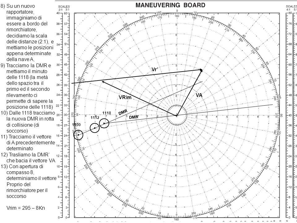8) Su un nuovo rapportatore, immaginiamo di essere a bordo del rimorchiatore, decidiamo la scala delle distanze (2:1), e mettiamo le posizioni appena determinate della nave A,