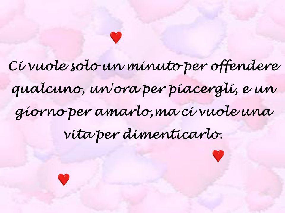 Ci vuole solo un minuto per offendere qualcuno, un ora per piacergli, e un giorno per amarlo,ma ci vuole una vita per dimenticarlo.