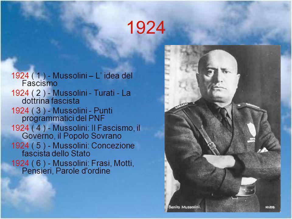 1924 1924 ( 1 ) - Mussolini – L' idea del Fascismo