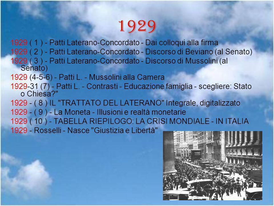 1929 1929 ( 1 ) - Patti Laterano-Concordato - Dai colloqui alla firma
